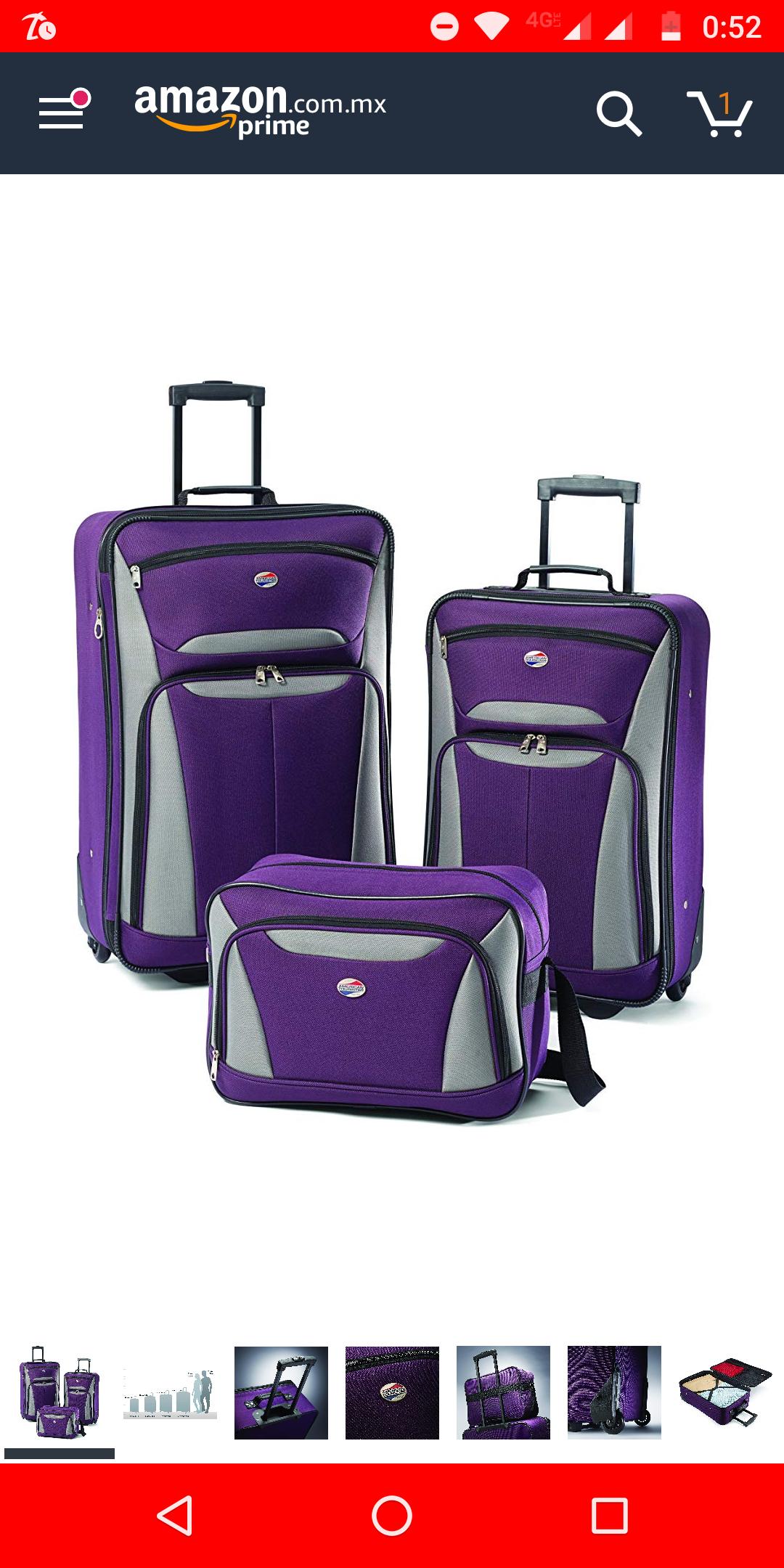 Amazon: Juego de 3 maletas color púrpura