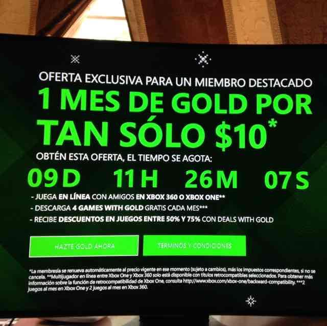 1 mes de Xbox Live Gold a $10
