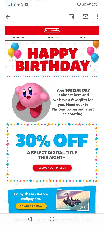 30% de descuento en Nintendo eShop por mes de tu cumpleaños