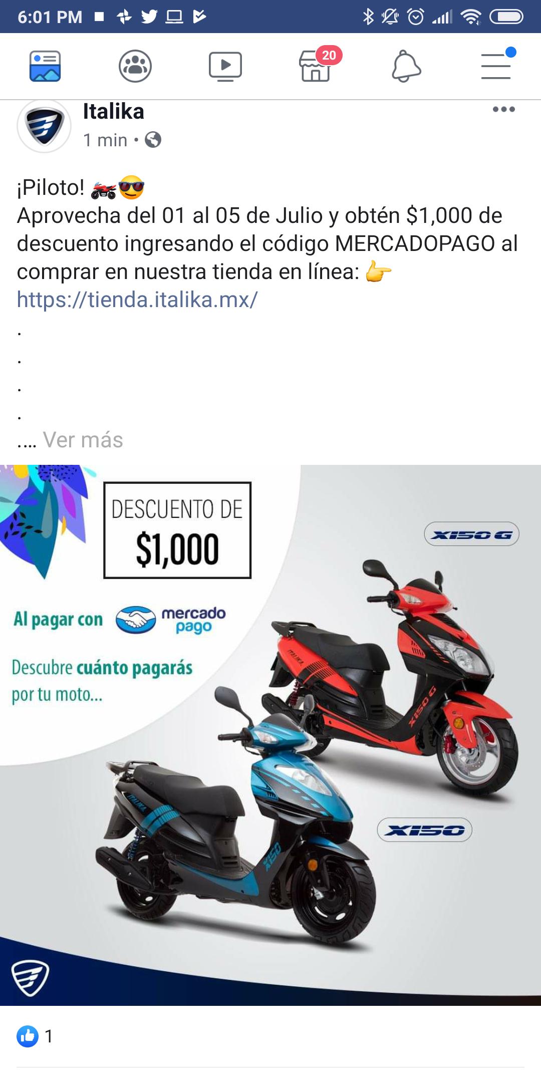 Italika: $1,000 de descuento al pagar con MercadoPago