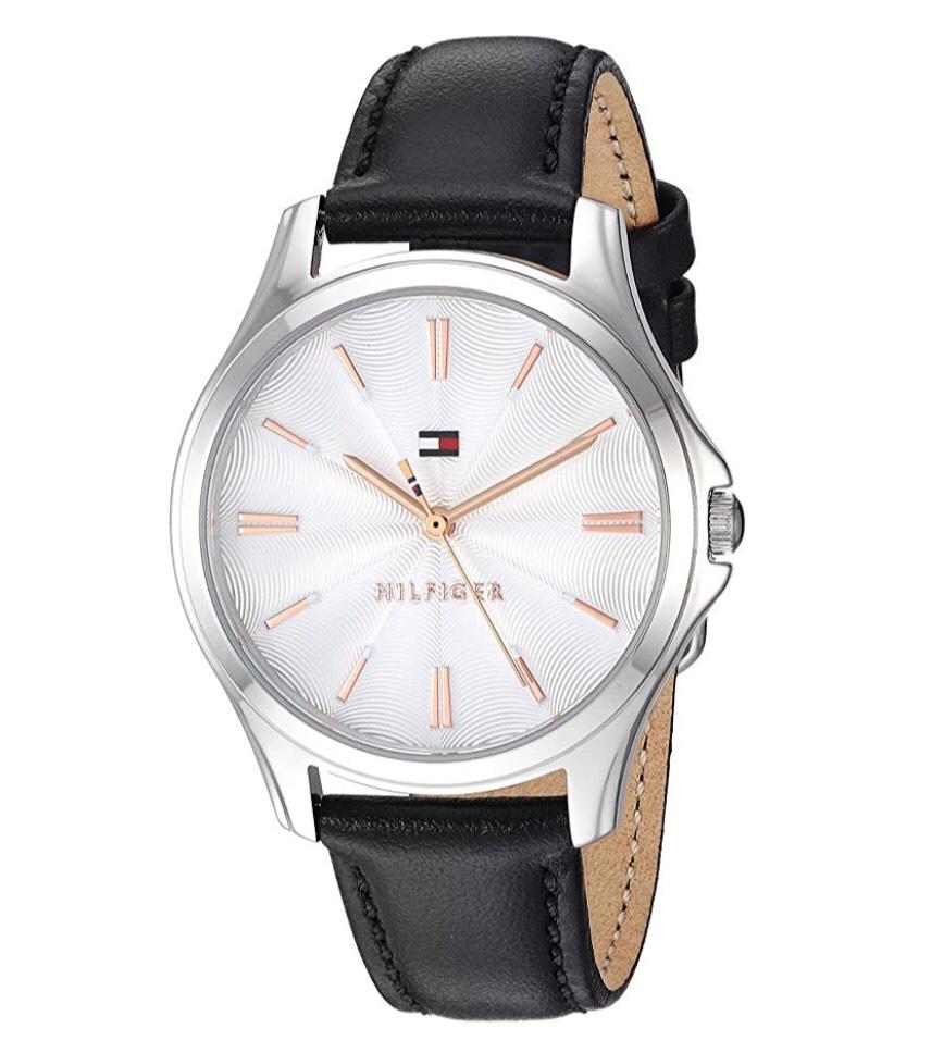 Amazon: Reloj Tommy Hilfiger Lori Reloj de cuarzo de acero inoxidable con correa de piel de becerro para mujer, negro, 16 (Modelo: 1781953)
