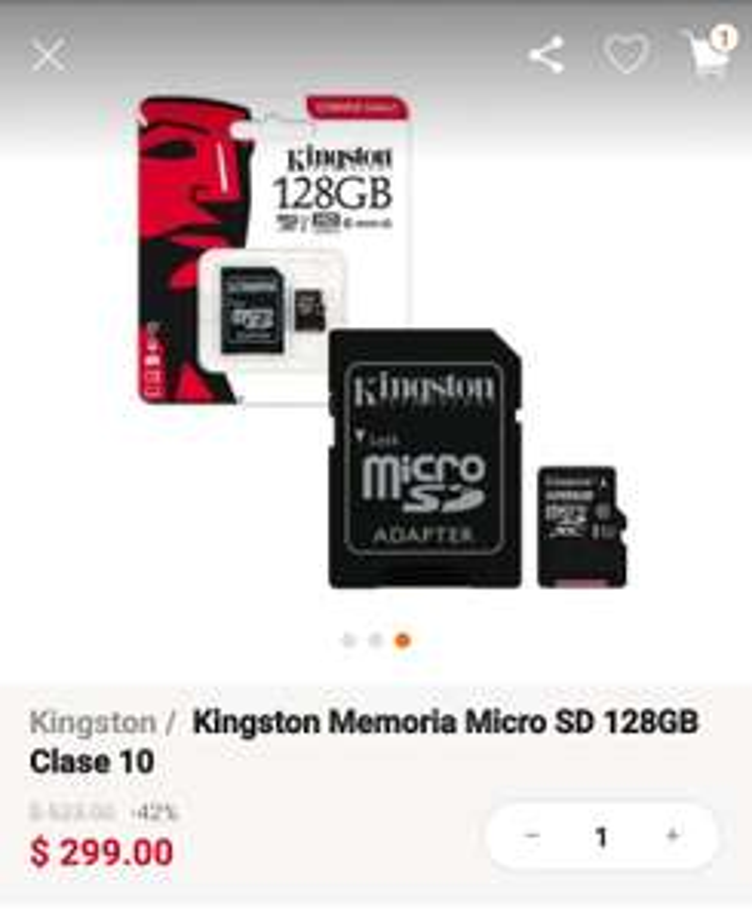 Linio Micro SD Kingston 128Gb clase 10
