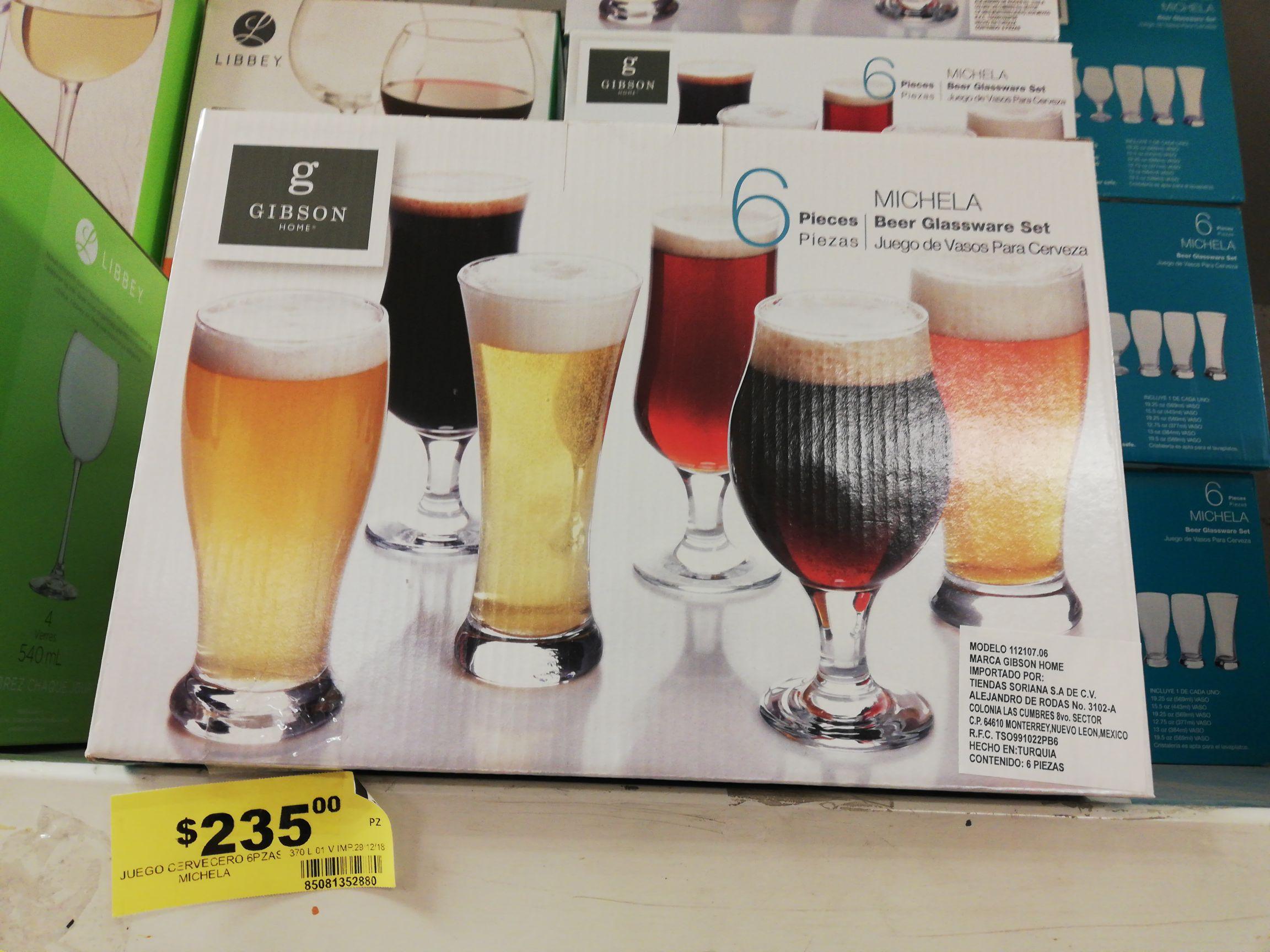 Soriana: 2x1 en artículos para el hogar Gibson (Vasos para cerveza en $117 con la promoción)