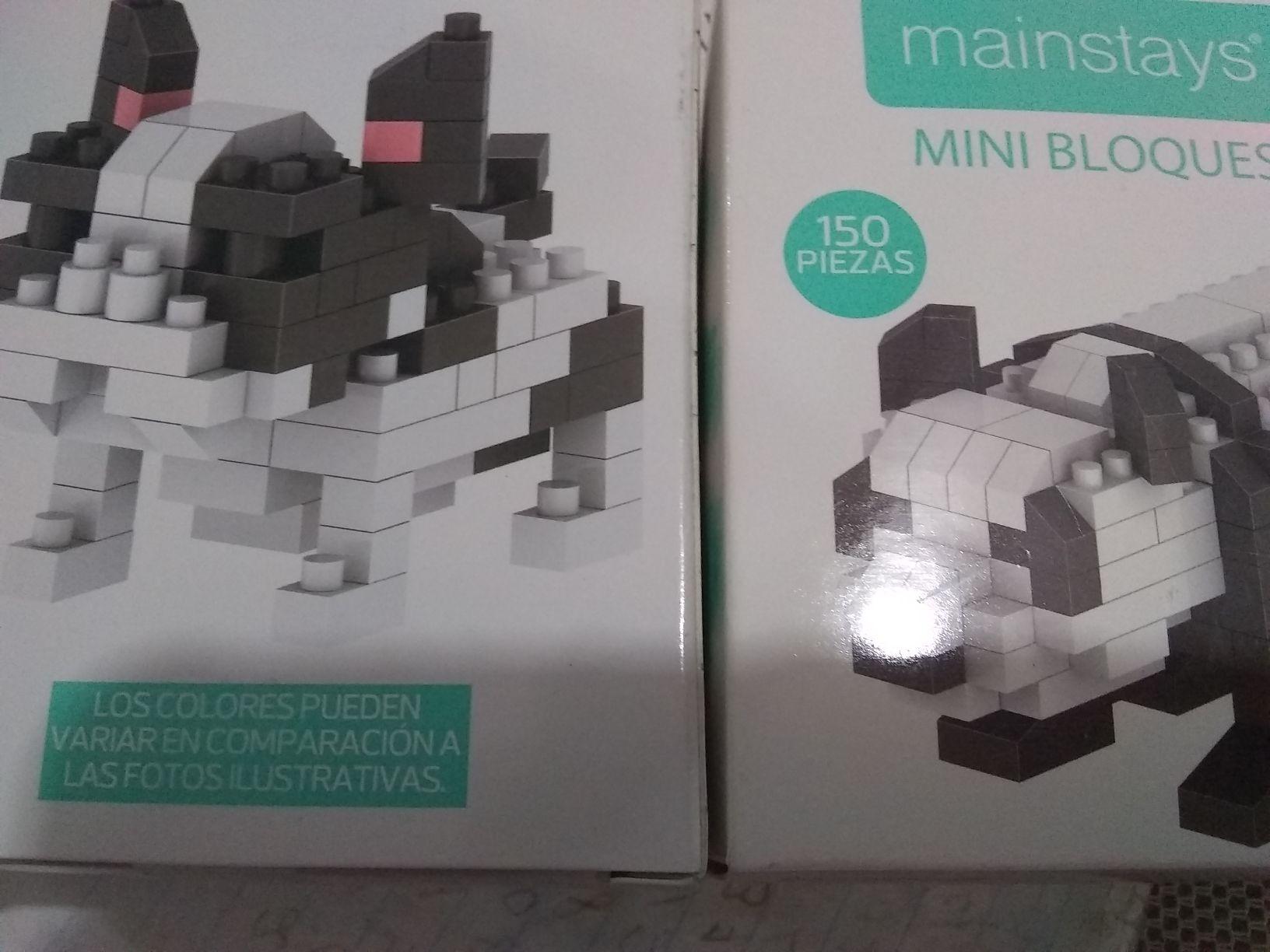 Bodega Aurrera Mini bloques, almohada y etiquetas