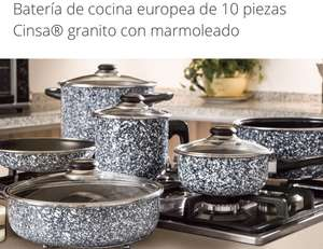 Grupon: Batería de cocina europea de 10 piezas Cinsa granito con marmoleado