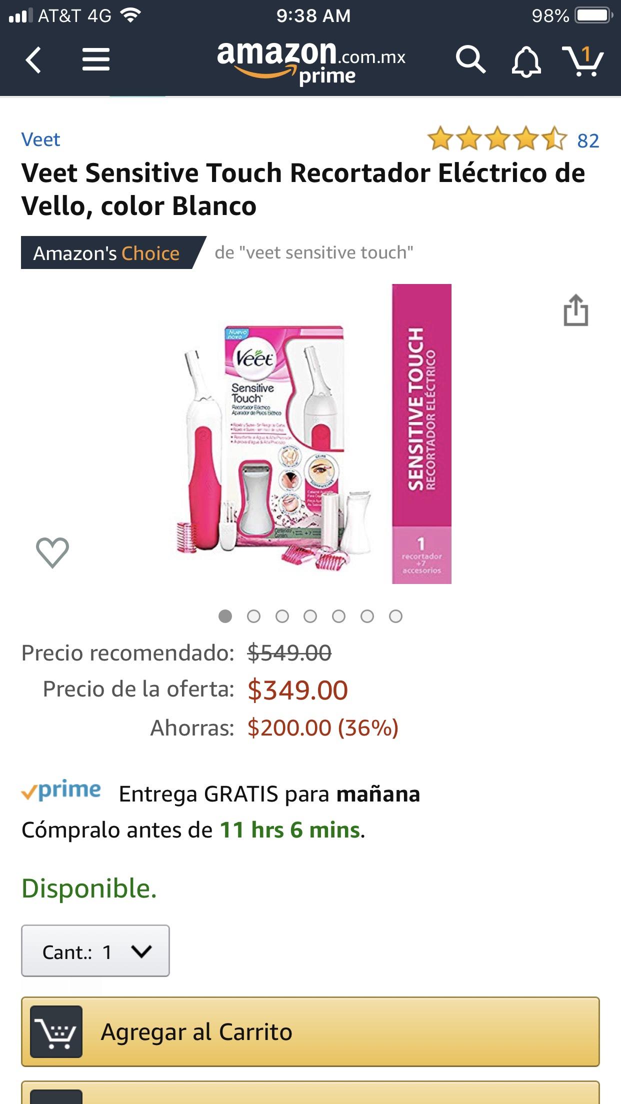Amazon: Veet Sensitive Touch Recortador Eléctrico de Vello