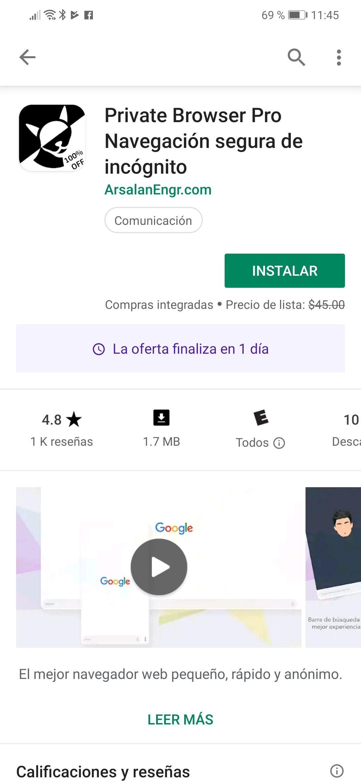Google Play Navegador privado PRO