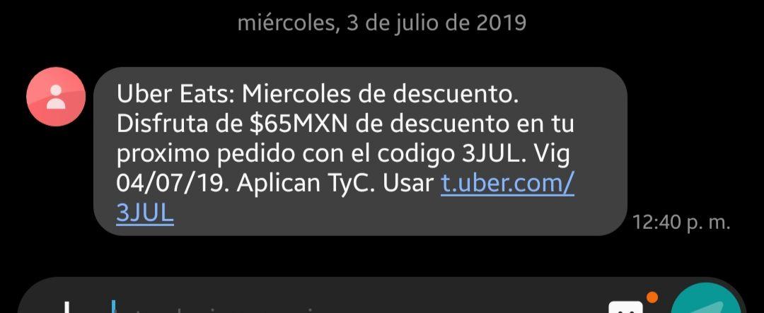 Uber Eats: Descuento de 65 pesos en la compra mínima de 120 pesos