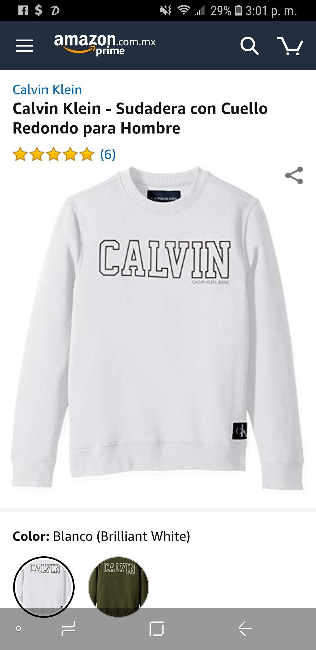 Amazon: Calvin Klein - Sudadera con Cuello Redondo para Hombre