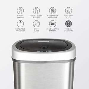 Amazon: Nine Stars DZT-50-9 Infrared Touchless Stainless Steel Trash Can, 13.2-Gallon