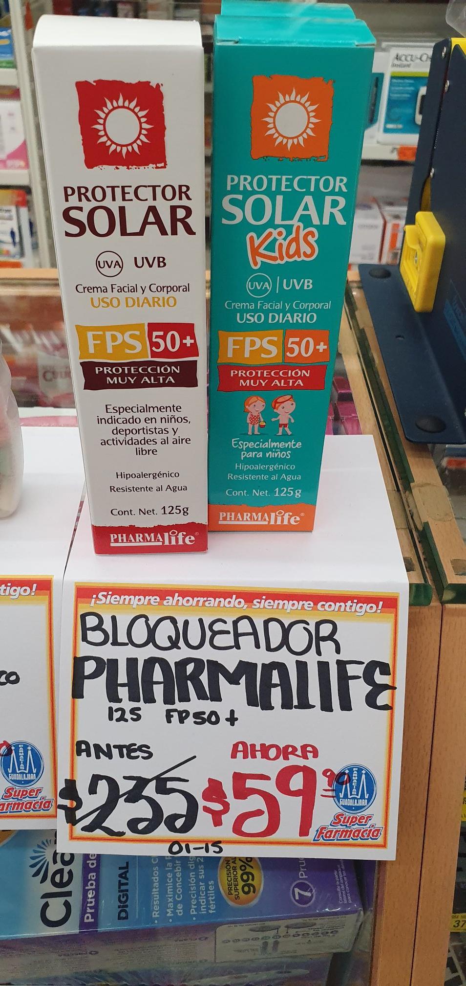 Farmacias Guadalajara: Bloqueador solar pharmalife protección 50+ en descuento