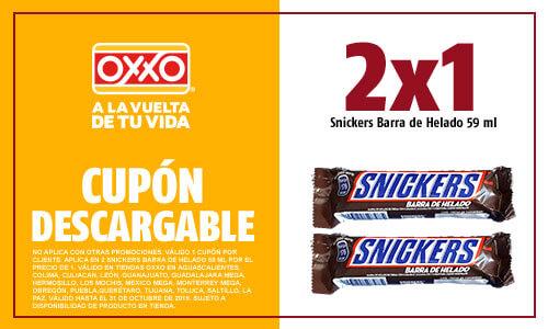 Oxxo: Cupones Snickers y Twix Barra de Helado