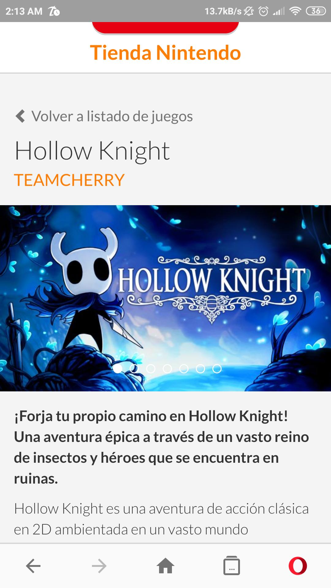Nintendo Eshop Argentina: Hollow Knight