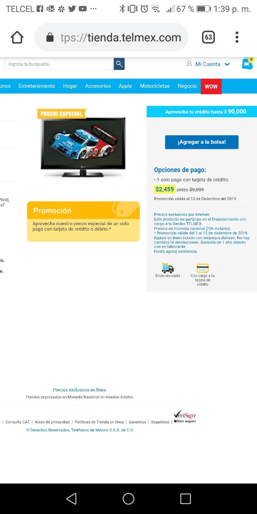 """Tienda telmex: pantalla LG 42"""" FULL HD"""