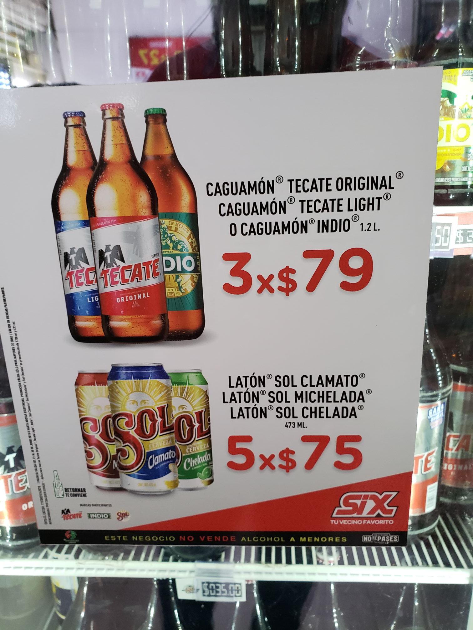 SIX: 5 cervezas sol de sabores