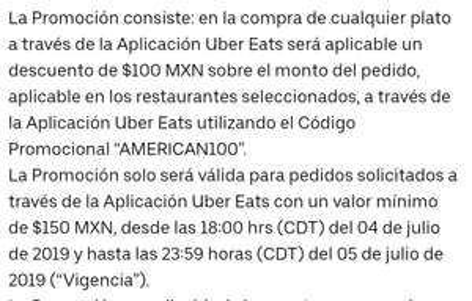 Uber Eats: usuarios nuevos $100 compra mínima $150