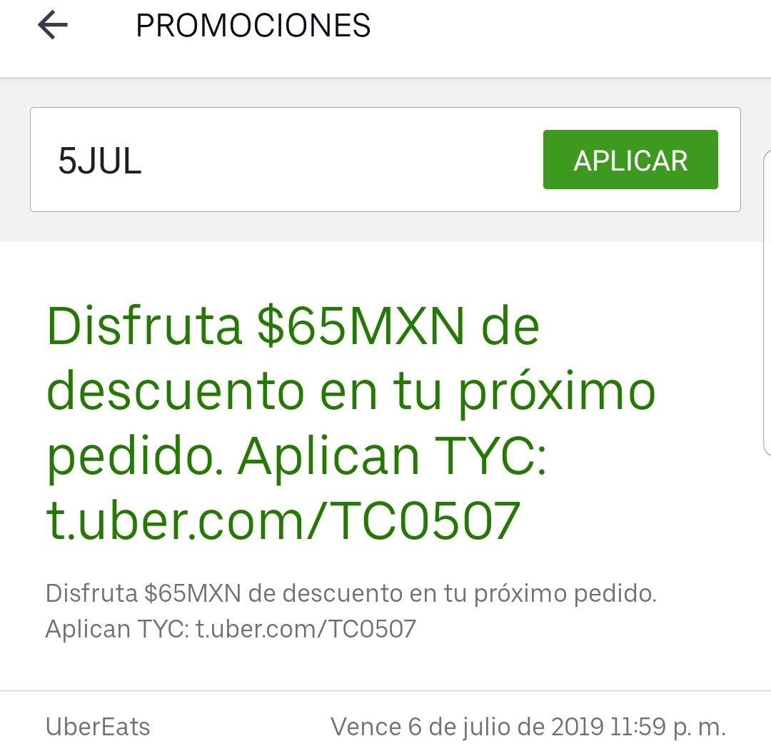 65 pesos de descuento en tu pedido Uber eats