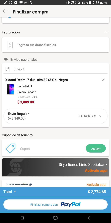 Redmi 7 en Linio app con paypal