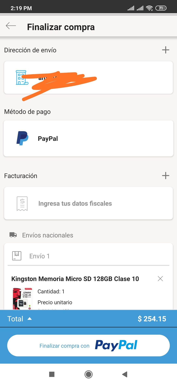 Linio app: memoria micro SD Kingston 128gb a $254 pagando con paypal aplica Linio plus