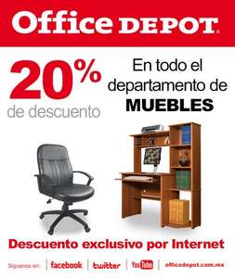 Office Depot: 20% de descuento en muebles (online)