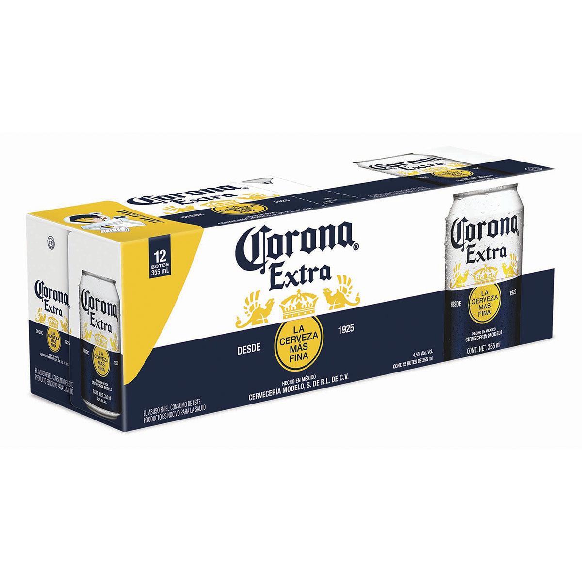 Chedraui 12 de cerveza en lata corona extra