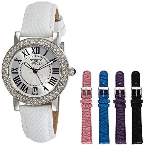 Amazon: Invicta Angel 21996 - Reloj de cuarzo para mujer (acero inoxidable, correa de piel de becerro)