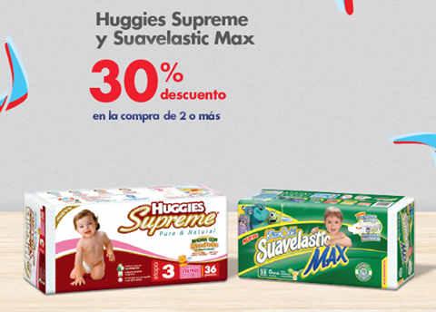 Farmacias Benavides: 30% de descuento en pañales Huggies Supreme y Suavelastic Max y mas
