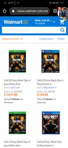 Walmart en linea: Call Of Duty Black Ops 4 par PS4 .