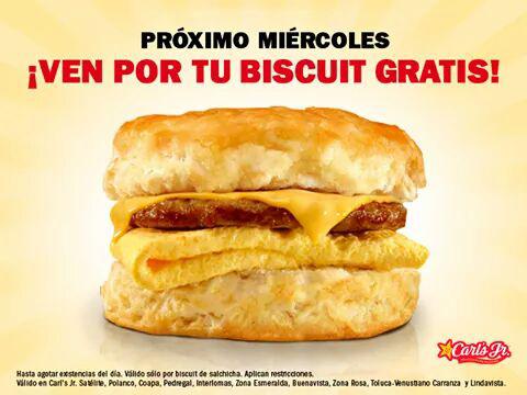 Carl's Jr: Biscuit ¡Gratis! este Miercoles sin comprar nada.