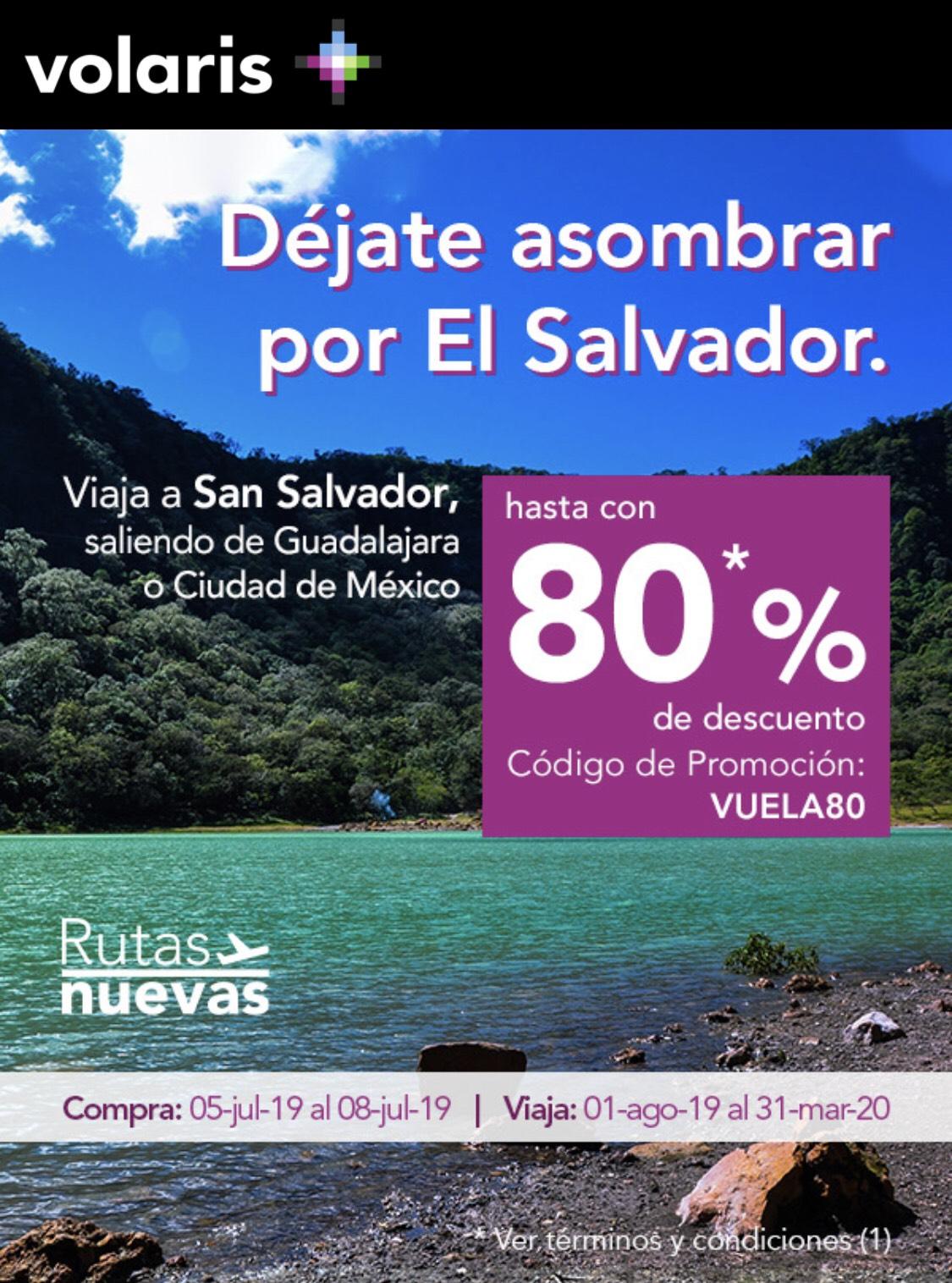 """Volaris: Viaja a """"El Salvador"""" con hasta 80% de descuento (Vigencia para comprar 8 de julio)"""