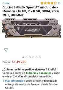 Amazon: Memoria RAM DDR4 Ballistix 16 GB 2666MHz (2X8)