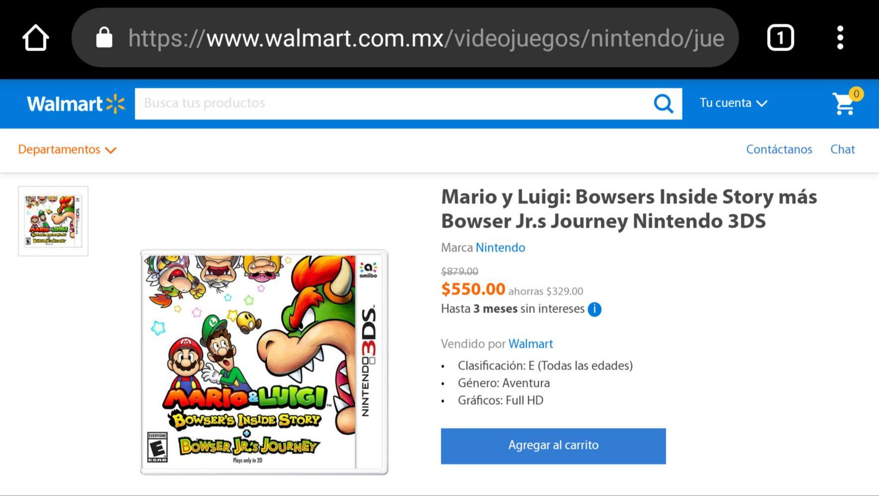 Walmart: Mario y Luigi: Bowsers Inside Story más Bowser Jr.s Journey Nintendo 3DS MEJOR PRECIO ENCONTRADO