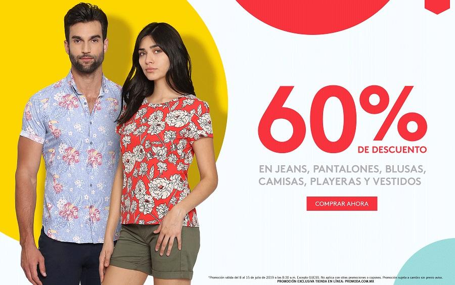 Promoda Outlet Online: 60% de descuento en jeans, pantalones, blusas, camisas, playeras y vestidos