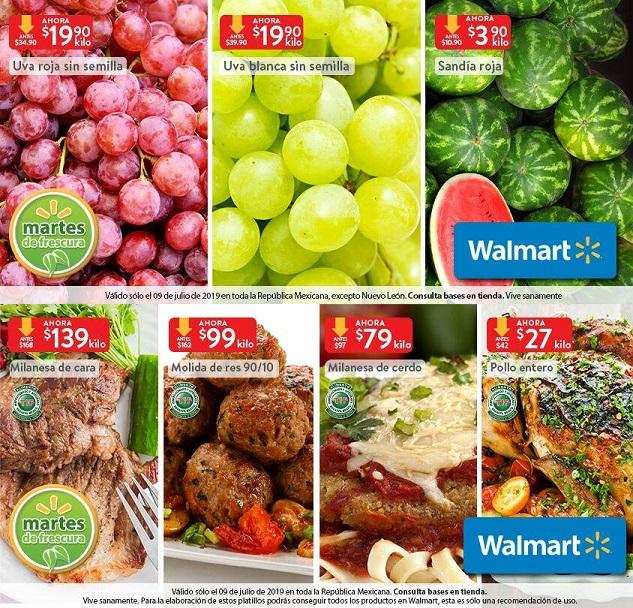 Walmart: Martes de Frescura 9 Julio: Sandía Roja $3.90 kg... Uva Blanca sin Semilla $19.90 kg... Uva Roja sin Semilla $19.90 kg.
