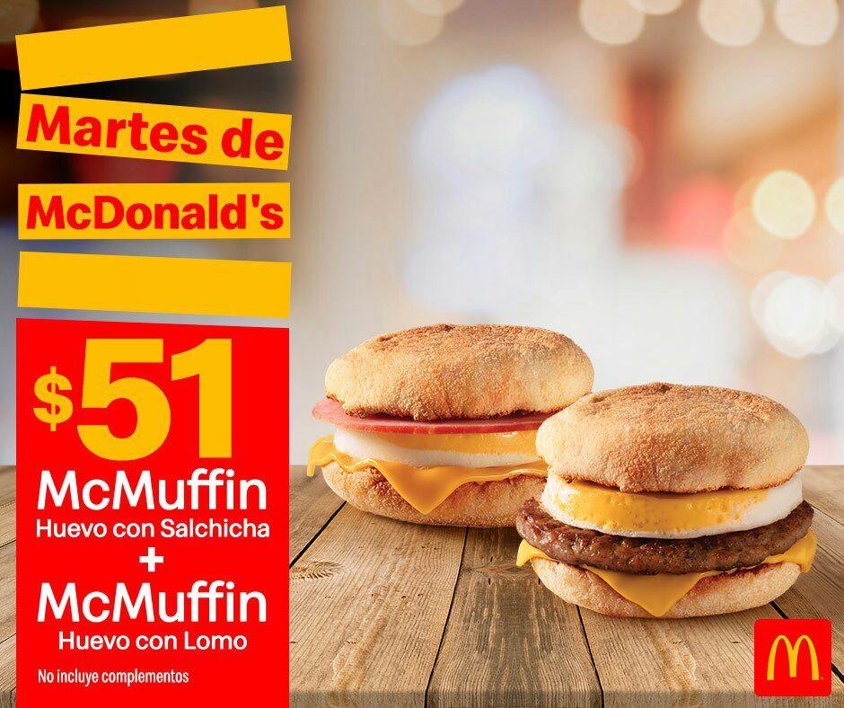 McDonald's: Martes de McDonald's 9 Julio Desayuno: McMuffin Huevo con Salchicha + McMuffin Huevo con Lomo $51
