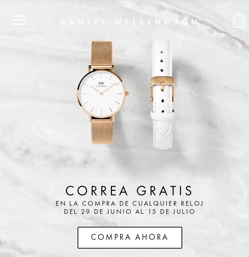 Correa gratis en compra de cualquier reloj Daniel wellington