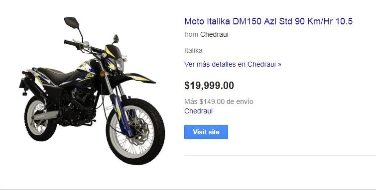 Chedraui: Moto Italika DM150 Azl Std 90 Km/Hr 10.5