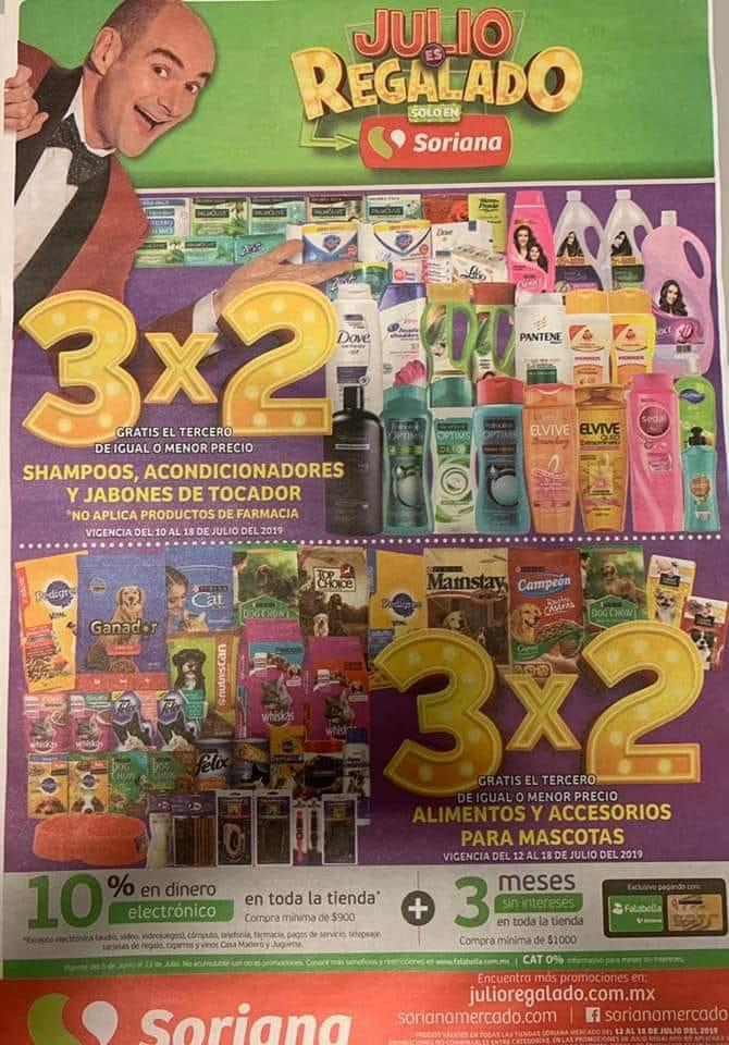 Julio Regalado 2019 en Soriana: 3x2 en Shampoos, Acondicionadores, Jabones de Tocador y Mascotas