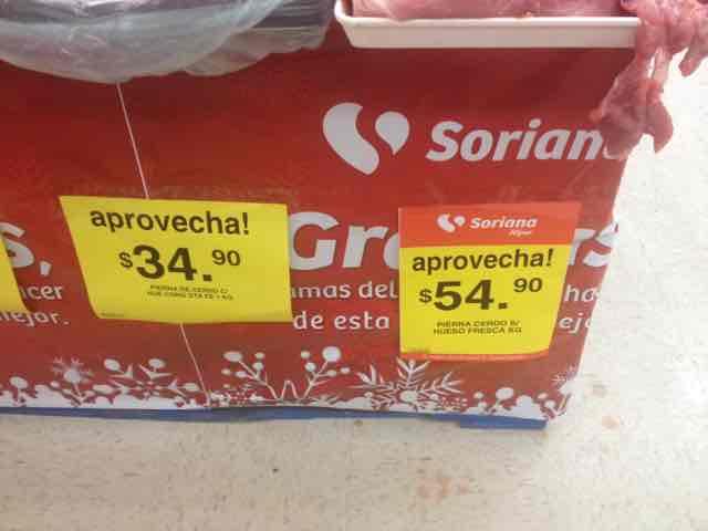 Soriana: Pierna de cerdo $54.90 el kg