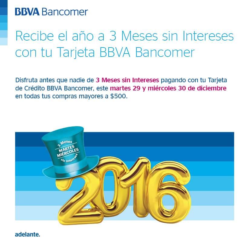 Bancomer: 3 msi en compras mayores a $500 al 30 de diciembre