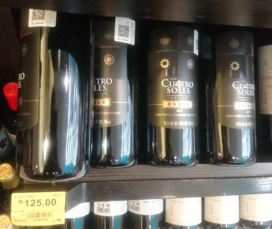 Superama: vino Cuatro Soles roble Cabernet sauvignon de $125 a $49