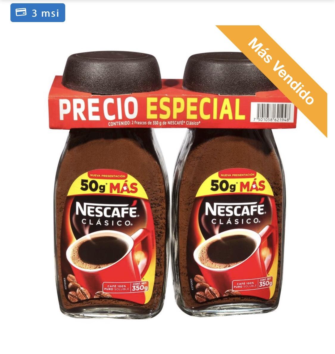 Sam's Club: Café Soluble Nescafé 2 pzas de 350 g