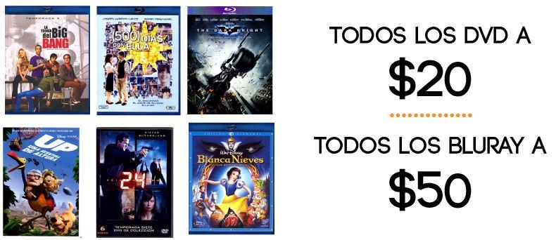Teragu.com: todos los DVDs a $20 y todos los blu-rays a $50