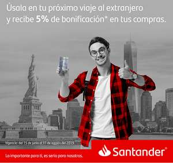 Santander: 5% de cashback en compras en el extranjero (Tarjetas AEROMÉXICO)