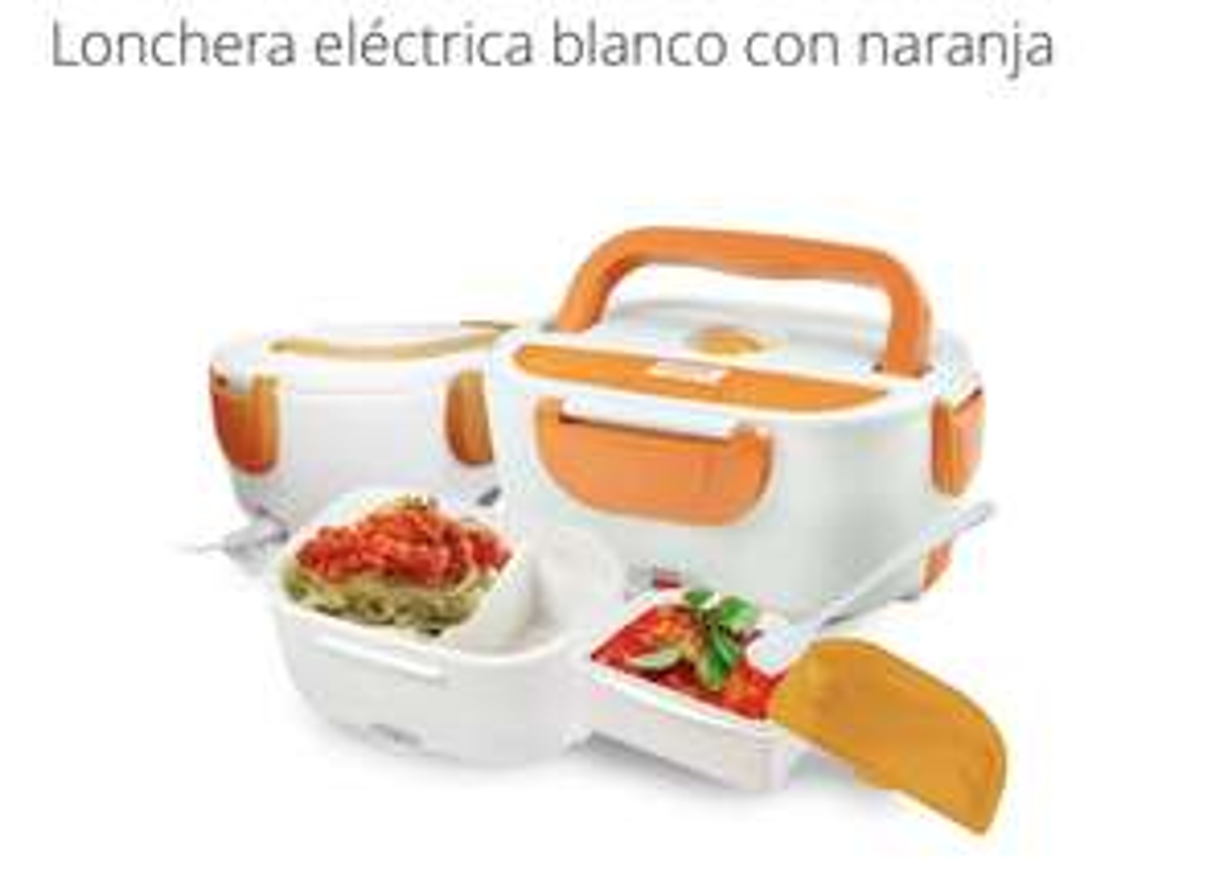 Groupon: Lonchera eléctrica blanco con naranja