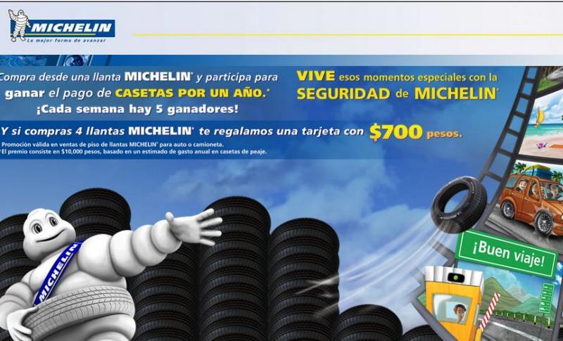 $700 de regalo comprando 4 llantas Michelin