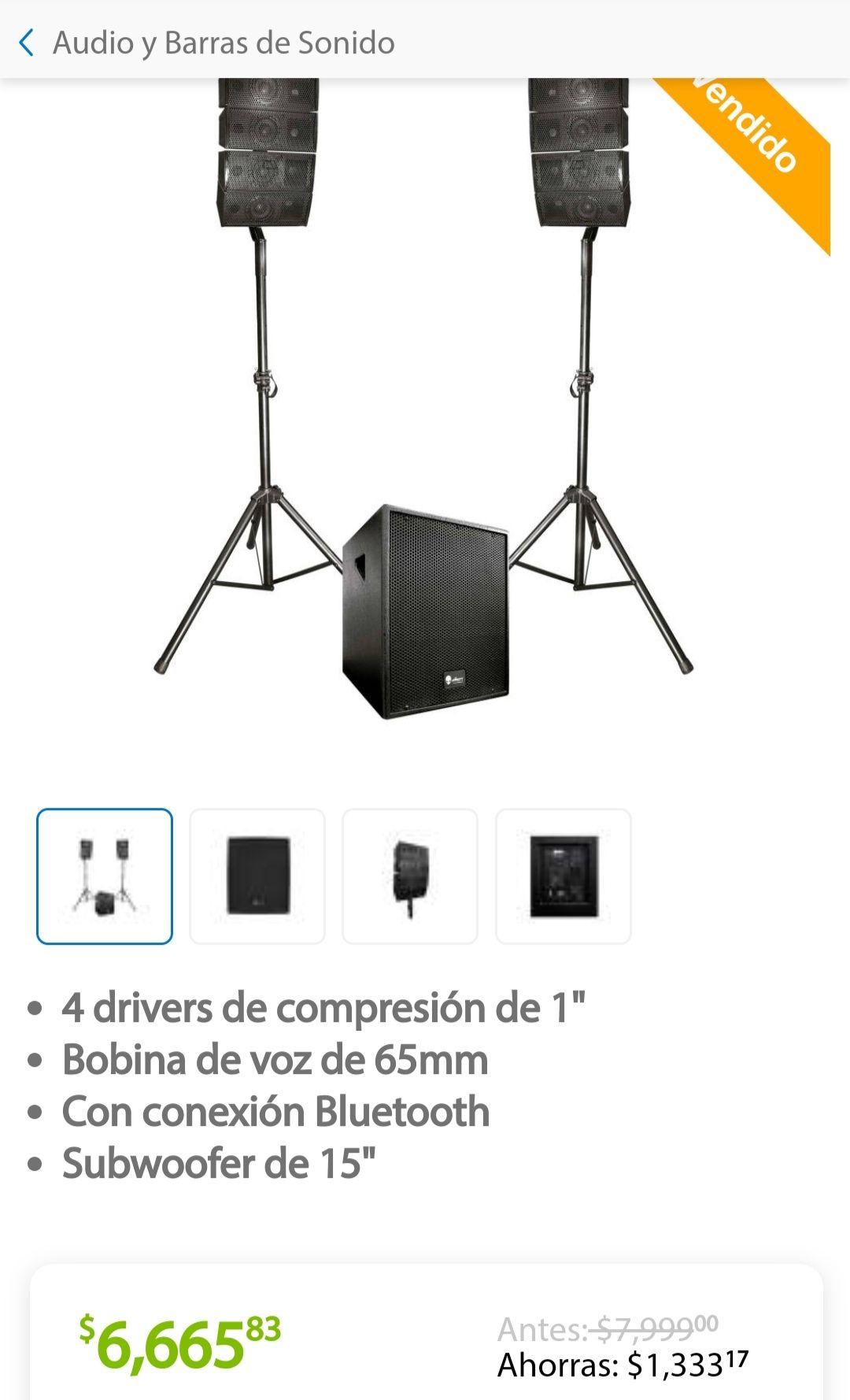 Sam's Club: Sistema de Audio Lineal Alienpro Vector de 15 Pulgadas 450 W RMS