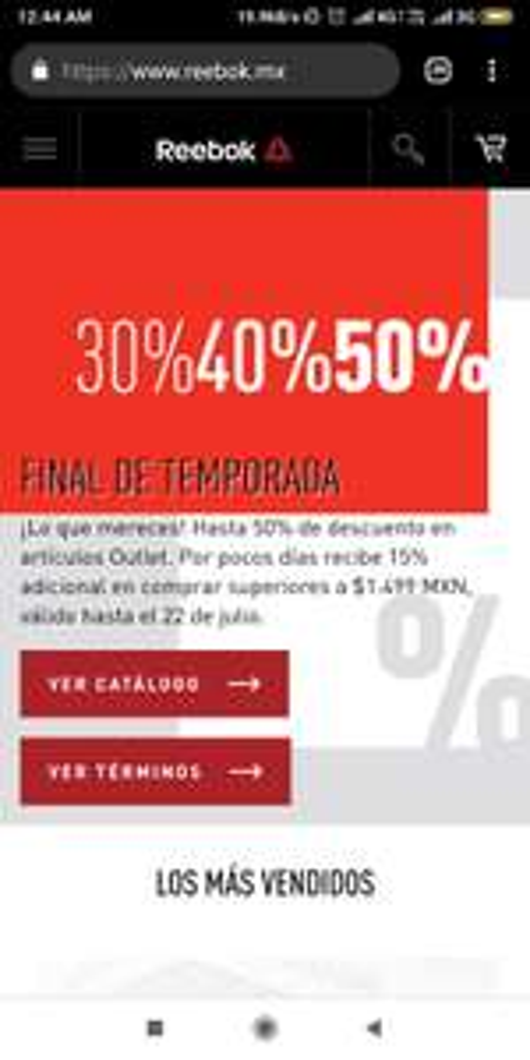 Reebok: Hasta 50 de dcto + 15% DCTO adiciónal al outlet compras mayores a $1500