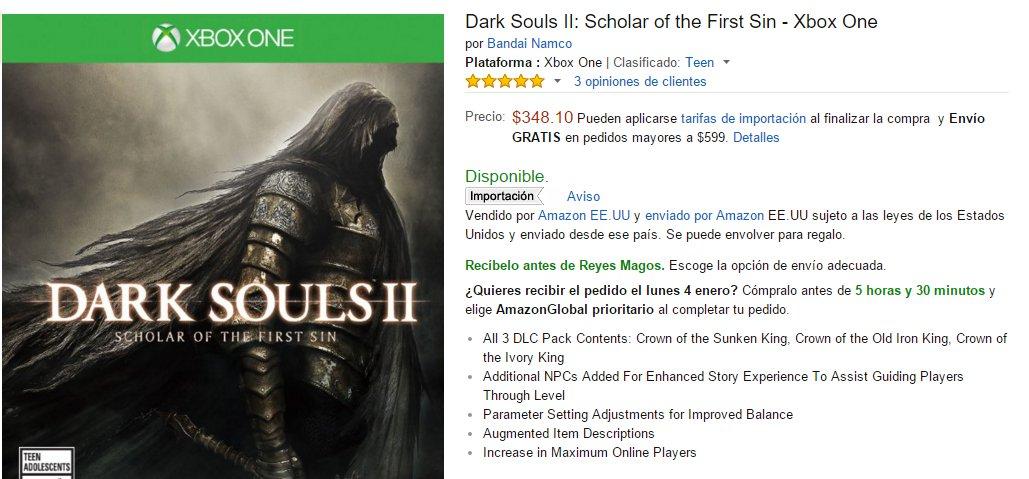 Amazon: Dark Souls II: SOTFS - Xbox One y PS4