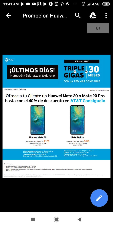 AT&T HUAWEI Promoción 40% descuento, Mate 20 $9,072.00
